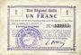 Banknoten Lavaqueresse (02). Commune. Billet. B.R.U., 1 franc