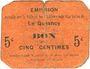 Banknoten Le Quesnoy (59). Ville et Etablissements Charitables. Billet. 5 centimes
