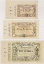 Banknoten Lens (62). Decrombecque (raffineur). Lot de 3 billets, 1, 5 et 10 francs 15.10.1870, non émis