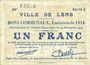 Banknoten Lens (62). Ville. Billet. 1 franc 14.11.1914, série A