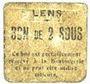 Banknoten Lens (62). Ville. Billet. 2 sous. Au revers, cachet rouge de la Banque de France avec le n° 8213