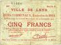 Banknoten Lens (62). Ville. Billet. 5 francs 14.11.1914, série A