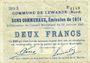 Banknoten Lewarde (59). Commune. Billet. 2 francs 13.1.1915, série D