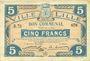 Banknoten Lille (59). Ville. Billet. 5 francs 28.11.1916, série R