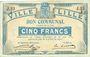 Banknoten Lille (59). Ville. Billet. 5 francs 31.8.1914, série J