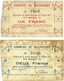 Banknoten Malincourt (59). Commune. Billets. 1 franc, 2 francs 10.3.1915