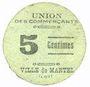 Banknoten Martel (46). Union des commerçants. Billet. 5 centimes