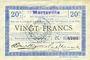 Banknoten Marteville (02). Billet. S.Q.G., 20 francs 8.8.1916