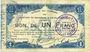 Banknoten Maubeuge & Solre-le-Château (59). Syndicat des Communes. Billet. 1 franc 11.3.1915