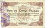Banknoten Maubeuge & Solre-le-Château (59). Syndicat des Communes. Billet. 5 francs 11.3.1915