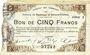 Banknoten Maubeuge & Solre-le-Château (59). Syndicat des Communes. Billet. 5 francs 22.9.1915