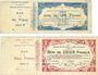 Banknoten Maubeuge & Solre-le-Château (59) Syndicat des Communes. Billets 1, 2, 5, 20 francs, séries 2, 6, 1,3