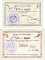 Banknoten Mayenne (53). Ville. Billet. 1 franc, 2 francs. Annulation manuscrite et par cachet PAYE