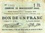 Banknoten Monchecourt (59). Commune. Billet. 1 franc 15.12.1914