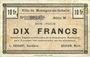 Banknoten Montigny-en-Gohelle (62). Ville. Billet. 10 francs 9.11.1914, série M