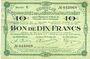Banknoten Montmédy (55). Syndicat de Communes de la région de Montmédy. Billet. 10 francs 14.1.1918, série U