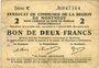 Banknoten Montmédy (55). Syndicat de Communes de la région de Montmédy. Billet.2 francs 5 et 7.7.1916, série C