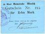 Banknoten Moosch (68). Commune. Billet. 10 mark (1914-1915). Carton bleu. Cachet communal français