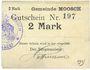 Banknoten Moosch (68). Commune. Billet. 2 mark (1914-1915). Carton blanc. Cachet communal français