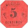 Banknoten Mouvaux (59). Ville. Billet. 5 centimes, rouge, cachet rond
