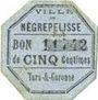 Banknoten Négrepelisse (82). Ville. Billet. 5 centimes