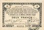 Banknoten Pas de Calais, Somme et Nord, Groupement de 70 communes. Billet. 2 francs 23.4.1915 série 3E