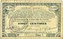 Banknoten Pas de Calais, Somme et Nord, Groupement de 70 communes. Billet. 20 centimes 23.4.1915 série 1