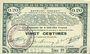 Banknoten Pas de Calais, Somme et Nord, Groupement de 70 communes. Billet. 20 centimes 23.4.1915 série 1D