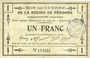 Banknoten Péronne (80). Bon de guerre de la Région de Péronne. Billet. 1 franc 2.9.1915
