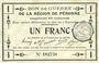 Banknoten Péronne (80). Bon de guerre de la Région de Péronne. Billet. 1 franc