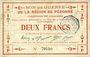 Banknoten Péronne (80). Bon de guerre de la Région de Péronne. Billet. 2 francs 2.9.1915
