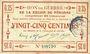 Banknoten Péronne (80). Bon de guerre de la Région de Péronne. Billet. 25 centimes