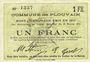 Banknoten Plouvain (62). Billet. 1 franc 10.2.1915, annulé