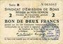 Banknoten Poix-Terron (08). Syndicat d'Emission. Billet. 2 francs 10.7.1916, série B
