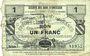 Banknoten Quiévy (59). Société des Bons d'Emission. Billet. 1 franc 5.3.1916, série 7, 2e émission