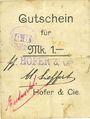 Banknoten Ribeauvillé (Rappoltsweiler) (68). Hofer & Cie. Billet, carton. G de Gutschein enroulé. 1 mark
