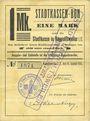 Banknoten Ribeauvillé (Rappoltsweiler) (68). Ville. Billet, carton. 1 mark. Annulation à l'avers par cachet