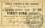 Banknoten Rimogne (08). Syndicat d'Emission. Billet. 25 centimes 26.4.1917, série U1