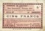 Banknoten Rouvroy (62). Commune. Billet. 5 francs 7.11.1915, série G3