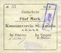 Banknoten Saint-Amarin. Konsumverein. Billet. 5 mark (22.9.1914). Signatures. : L. Vuillard et E Kühner