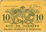 Banknoten Tourcoing (59). Ville - Bon de Denrées. Billet. 10 centimes, série DG 1