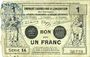 Banknoten Valenciennes (59). Emprunt Consortium. Billet. 1 franc, série 14