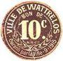 Banknoten Wattrelos (59). Ville. Billet. 10 centimes 9.1915