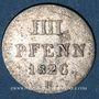 Münzen Hanovre. Georges IV (1820-1830). 4 pfennig (= 1/2 mariengroschen) 1826 B