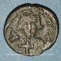 Münzen Empire byzantin. Constant II (641-668). 1/2 follis.Carthage 647-659. Refrappé /ancienne monnaie