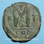 Münzen Empire byzantin. Justin I (518-527). Follis. Constantinople, 2e officine. 527-532