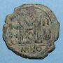 Münzen Empire byzantin. Justin II (565-578). Follis. Nicomédie. 1ère officine, 568-569