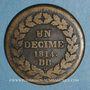 Münzen 1er empire (1804-1814). 1er blocus de Strasbourg 1814. 1 décime 1814 BB. Points après DECIME et 1814