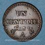 Münzen Directoire (1795-1799). 1 centime an 7 A. 53 perles à l'avers et 50 au revers