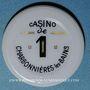 Münzen Charbonnières-les-Bains (69). Casino. 1 franc plastique laminé blan avec inscription noir et or